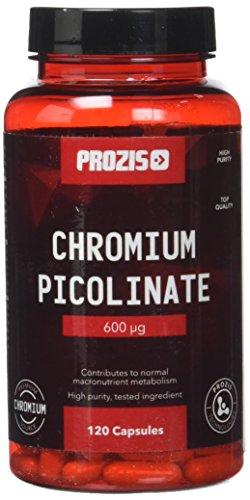 Prozis 100% Picolinato de Cromo 120 Cápsulas 600mcg - Ayuda al colesterol bueno y a los niveles de glucosa: ¡Suministro para 40 días!