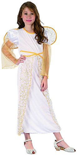 Trasparente Kostüm - Generique Costume angelo bambina bianco e dorato 4/6 anni (104/116)