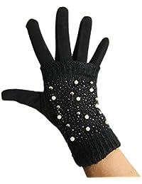 fb8094ce767913 Touchscreen Handschuhe fingerlos Stein Strass Perlen Strick Winter Mod.14