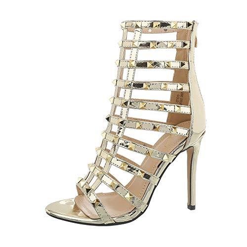 Ital-Design Damenschuhe Sandalen & Sandaletten High Heel Sandaletten Synthetik Gold Gr. 37