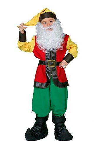 Zwergen-Kostüm Kinder Oberteil, Hose, Gürtel und Zipfelmütze Fantasy Märchen Karneval Fasching Theater Hochwertige Verkleidung Fastnacht Größe 164 Multi