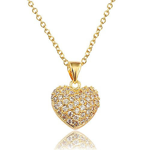 "Price comparison product image Cubic Zircon ""Angel Love"" Heart Pendant Necklace For Women Girls Mother Day's Gift"