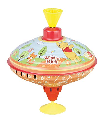 Bolz 52334 - Trottola Disney Winnie The Pooh Party, 16 cm, in lamiera, con Motivo Puuh, a Forma di Cerchio con piedistallo, Multicolore