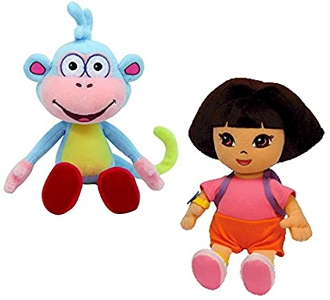Ty Beanie Baby - Dora the Explorer and her Monkey Boots Plush Pair of Cuddly Collectable Toys