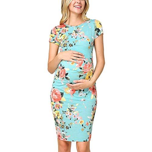 Fearless Come Damen Umstandskleid Sommerkleid für Schwangere Seite Rüschen Umstandsmode Print Unterwäsche Kleid