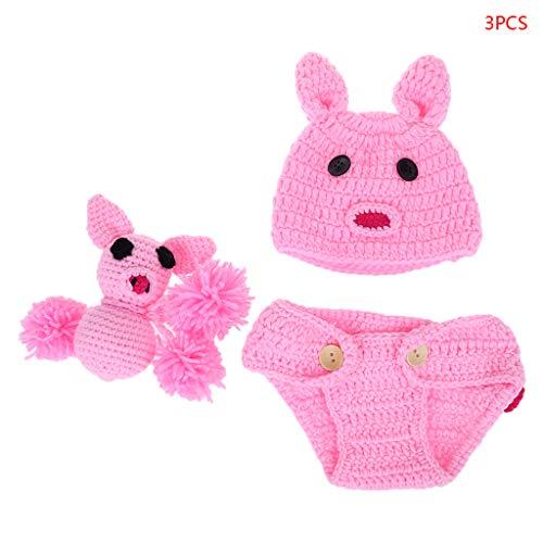 A0127 1 Set Neugeborenen Baby Fotografie Requisiten Kostüm Hut + Hose + Spielzeug gestrickt häkeln Schwein Mütze Kaninchen Ohren Hosen Mädchen rosa Fotostudio Schießen