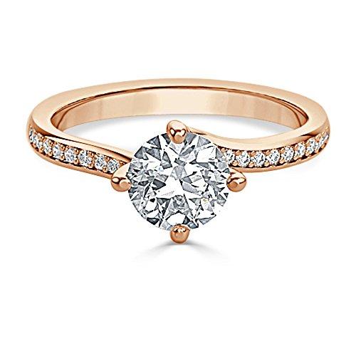 1,20ct Runde Schnitt Diamant Engagement Hochzeit Ring 14K Solid Rose Gold Gr. I, J, K L M N O P Q R S T