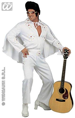Weißen Kostüm Elvis - WIDMANN Elvis Kostüm weiss mit roten Juwelen Größe M