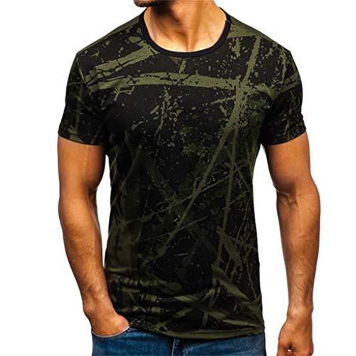 BHYDRY Herren Farbverlauf Streifenmuster Lässige Mode Revers Kurzarm Shirt -