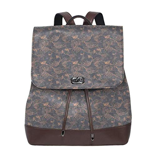 Women's Leather Backpack,Abstract Pink Shade Grapevine Leaves Intertwined Delicate Branches Print,School Travel Girls Ladies Rucksack -