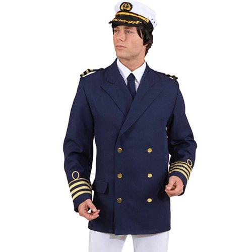 Admiral Kostüm Jacke - Admiral Jacke, Gr. 50/52, blau Kapitän Matrose Kostüm Jackett Marine Offizier Karneval