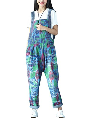 Vogstyle Damen Neu Printed Denim Spielanzug Overall Baggy Pants Latzhose Style 4