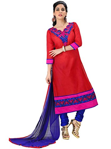 Vibes Women's Pure Cotton Straight Fit Un Stitched Salwar Kameez(V34-1096_Red)