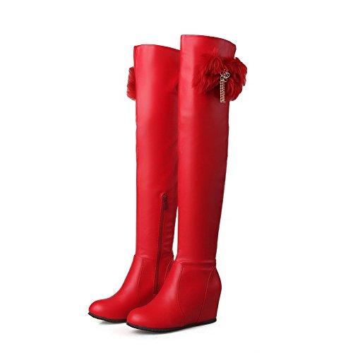 AgooLar Damen Mittler Absatz Hoch-Spitze Rein Reißverschluss Stiefel mit Anhänger Rot