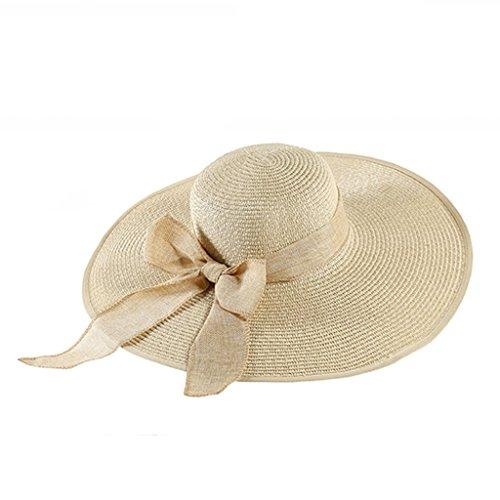chapeau de soleil Chapeau de plage Été Craniel solaire Large Le long du chapeau de paille pliable Casquette de voyage ( Couleur : Rose ) Cream color