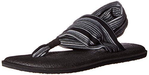 Sanuk Yoga Sling 2 Sandals Women Größe UK 8 Black/White Jersey -