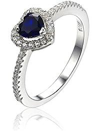 JewelryPalace Corazón de la Mujer del Océano 0.6ct Creado azul zafiro 925 Anillo de plata de ley