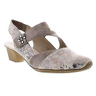 Rieker 49787-90 Grey/Silver Heeled Slingback Shoe with Velcro Strap 3.5