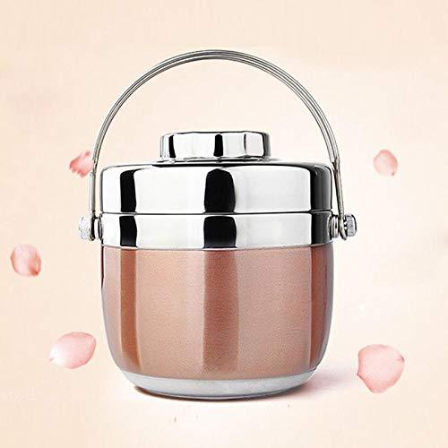 TAYIBO Isolierte Brotdose aus Edelstahl,Doppelschichtige Mini-Brotdose aus Edelstahl, versiegelt, isoliert, Eimer-Pink -