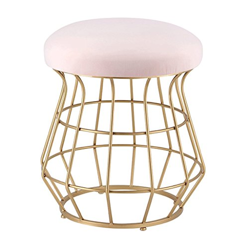 Lounge- & Cocktailsessel Metall Mode Make-up Hocker Gold Hocker Bein Hocker Esszimmerstuhl Couchtisch Hocker (Farbe : Pink, Größe : H45CM)