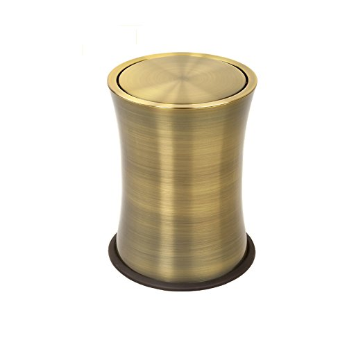 Gant de toilettes créatif en acier inoxydable pour salle de ménage Poubelle plus épaisse ( Couleur : Bronze vert )