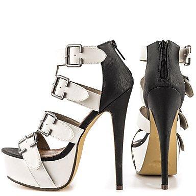 LvYuan Da donna-Sandali-Ufficio e lavoro Formale Casual Serata e festa-Altro-A stiletto-Finta pelle-Nero bianco Black/White
