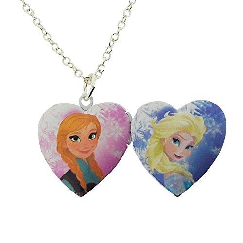 Disney Frozen Ragazze Silvertone doppio sided medaglione 16cm + estensione di 3