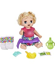 Baby Alive Happy Hungry Baby Blond Curly Hair Doll, Makes 50+ Sounds and Phrases, Eats and Poops, Drinks and Wets, Toy Doll for 3 Year Old and Up