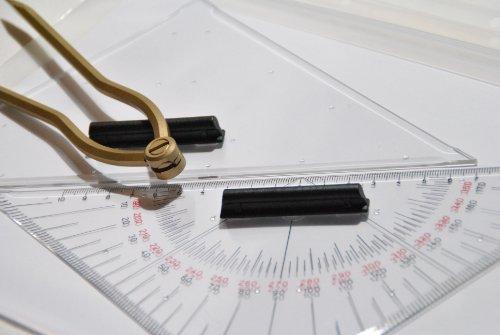 Dreimaster Navigationsset 27 cm, Navigationsbesteck - Marinezirkel mit Kursdreieck, Anlegedreieck