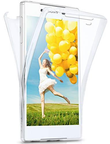 moex® Beidseitige Silikonhülle [Vorder + Rückseite] passend für Sony Xperia Z5 | 360 Grad Cover mit Komplett-Schutz - durchsichtig, Transparent