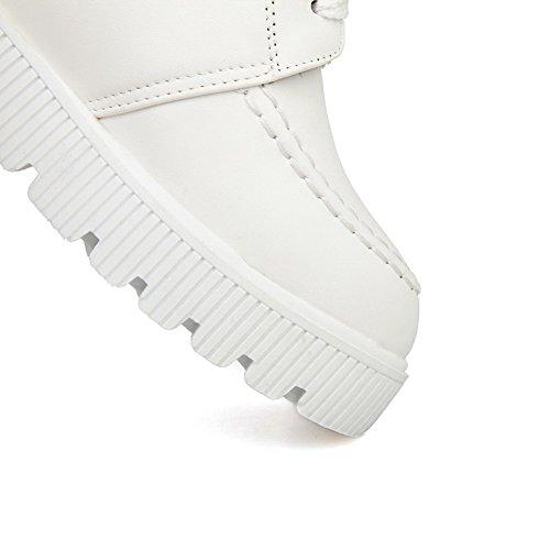 VogueZone009 Damen Rund Zehe Wedges Weiches Material Niedrig-Spitze Rein Stiefel mit Knoten Weiß