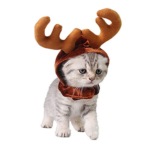 PEDOMUS Katze Kostüm Weihnachten Rentier Geweih Hut Haustier Weihnachtskostüm für Katzen und kleine Hunde ()