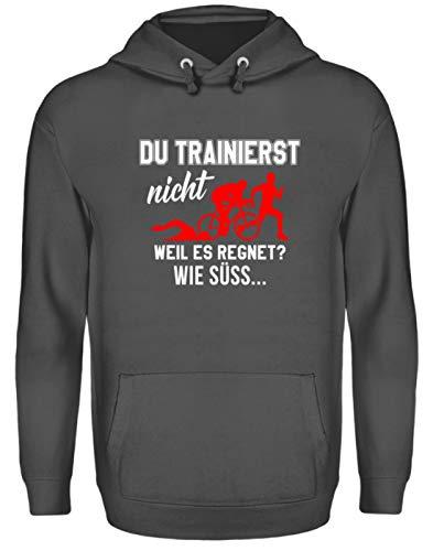 Shirtee Triathlon - Training im Regen - Unisex Kapuzenpullover Hoodie -S-Stahlgrau (Triathlon Hoodie)