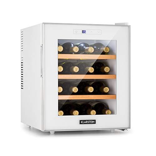 Klarstein Reserva 16 • Réfrigérateur à vin • Espace pour 16 bouteilles de vin • Total de 48L • Classe énergétique A • Température réglable de 11 à 18 °C • 3 clayettes • Blanc