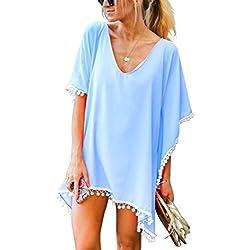 UMIPUBO Mujer Ropa de Baño Suelto Vestido de Playa Borla Verano Camisolas y Pareos Transparente Bikini Cover up (Azul Claro)