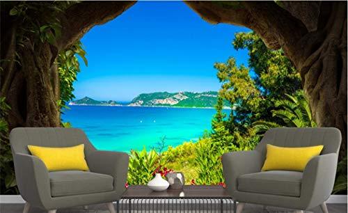 Tapete wandgemälde-Landschaft Fertigen Sie Wandbilder Der Baum-Loch-Insel 3D Umweltfreundliches Fernsehhintergrund-Wohnzimmer-Küche-Schlafzimmer Besonders An -