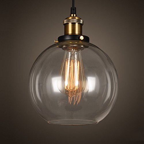 Glas Kugel Leuchte (EMOTREE 1x Glas Schirm Kugel-Form Hängelampe Pendelleuchten Retro Antik Kugel-Form Nostalgia Lampe Leuchte für E27 Glühbirne)