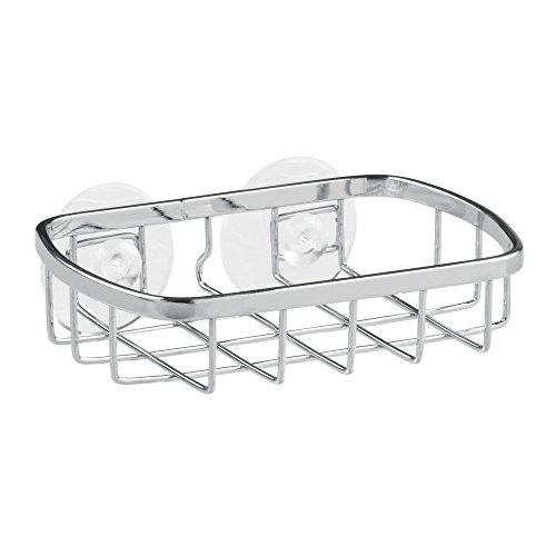 InterDesign Gia Suction Soap Dish Holder for Bathroom Shower, Bathtub - Chrome