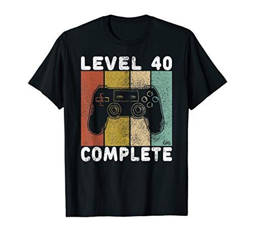 Herren 40. Geburtstag Männer Shirt Gamer TShirt Level 40 Complete T-Shirt -
