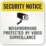 qidushop Funny Plaque Signes de Voisinage protégé Surveillance vidéo Jaune Noir sur Blanc Plaque en métal Gardern Allée de Garage Sign 30x 30cm