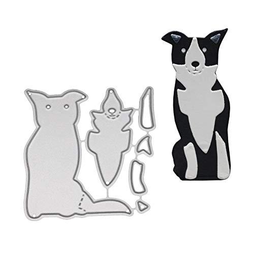 Niedlicher Hund Metall Stanzform DIY Papier Kunst Spray Karbonstahl Grußkarte Küche Haushalt Living DIY Scrapbooking Prägung Schablone - Silber