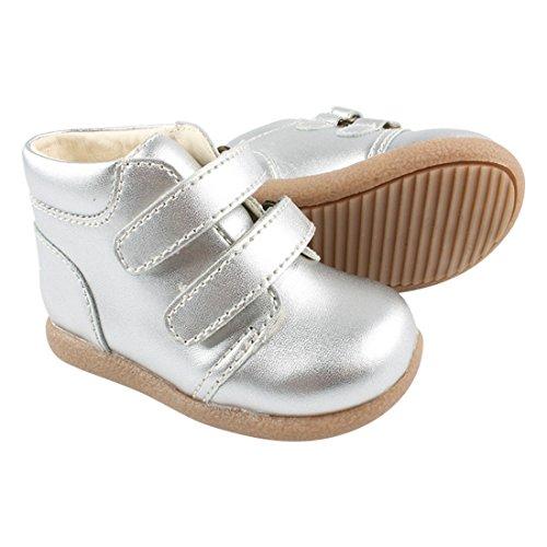 Enfant et des enfants de bébé unisexe, cuir, Beginner Shoe Velcro, 815127 Silber