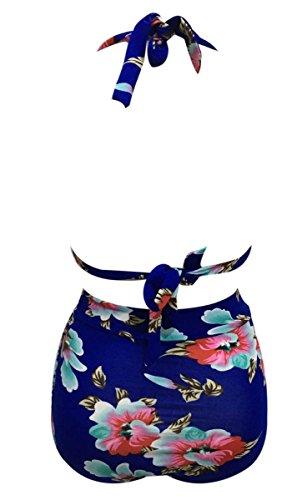 Feoya Damen Zweiteiliger Neckholder Elastischer Hohe Taille Bademode mit Blumen - Verschiedene Farbe Blau