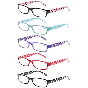 bc396468745 Image Unavailable. Image not available for. Colour  5 Pack Fashion Ladies Reading  Glasses Lightweight Comfortable Colorful Readers for Women ...
