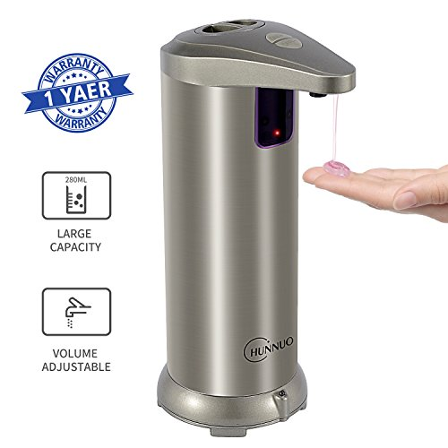 Automatic Soap Dispenser CHUNNUO Auto Soap Dispenser Sensor Soap Dispensers 280ML Stainless Steel Countertop Touchless Hand Free Soap Dispenser Motion Sensor with Waterproof Base for Kitchen and Bathroom