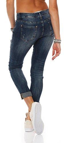 SKUTARI Damen-Jeanshose Boyfriend Trendige Hose mit Löchern oder Nieten Blau 4