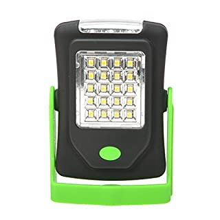 AZX Ultra Bright Led Work Light (3 Leds) Flashlight (20 Leds) Emergence Light Camping Lantern With Magnetic & Hook & Stand For Multipurpose Use Green