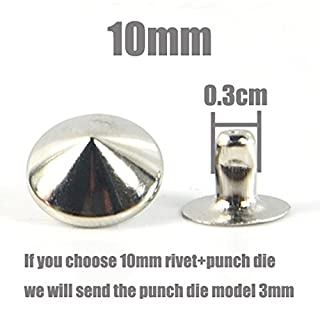 500pcs x Cone Rivet Metal Spike Studs Leathercraft DIY Fashion Punk Rock With Press Tool (10mm, Copper)