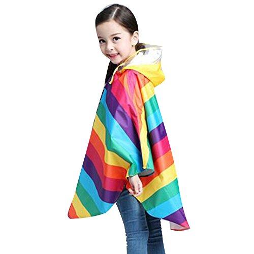 Bambini Pioggia Cappotto Unisex Bambina Semplice Giacca Antipioggia Impermeabile Poncho Arcobaleno/110-125cm