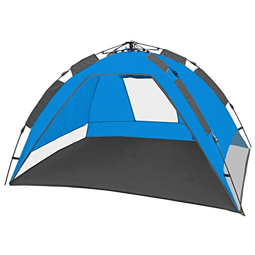 CampFeuer - Strandmuschel, blau/grau, UV50+, Automatik Strand Zelt, Beach Tent